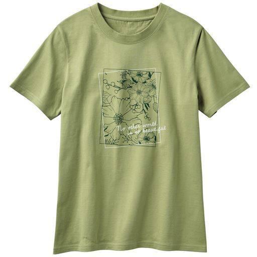 30%OFF【レディース】 プリントTシャツ(綿100%・S-7L・洗濯機OK) ■カラー:ソフトオリーブ ■サイズ:S,M,L,LL,3L,4L-5L,6L-7L