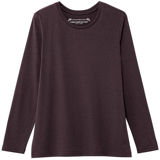 【レディース】 シンプルクルーネックTシャツ(長袖)(洗濯機OK) ■カラー:ブラウン ■サイズ:S,M,L,LL,3L