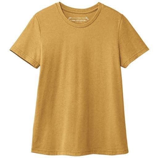 30%OFF【レディース】 シンプルクルーネックTシャツ(半袖)(洗濯機OK) ■カラー:アンバーイエロー ■サイズ:S,M,L,LL,3L,4L,5L,6L