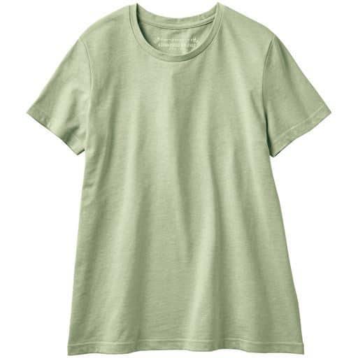 30%OFF【レディース】 シンプルクルーネックTシャツ(半袖)(洗濯機OK) ■カラー:ミストグリーン ■サイズ:M,3L