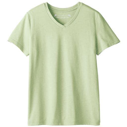 【レディース】 シンプルVネックTシャツ(半袖)(S-6L・洗濯機OK) ■カラー:ミストグリーン ■サイズ:S,M,L,LL,3L,4L,5L,6L