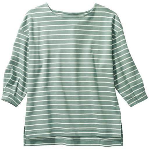 ボートネック ボーダードルマンTシャツ(綿100%・洗濯機OK)