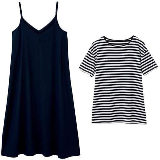 【レディース大きいサイズ】 【ぽっちゃりさんサイズ】2点セット(Tシャツ+キャミワンピース) ■カラー:ネイビー系 ■サイズ:L,LL,3L,4L,5L,6L