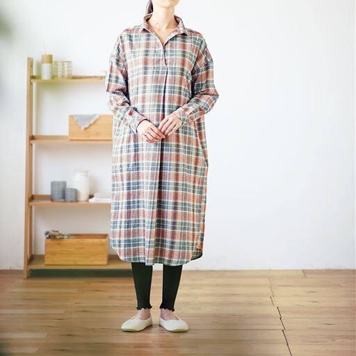 30%OFF【レディース】 微起毛ビエラゆるシャツワンピース(綿100%) ■カラー:コーラルベージュ ■サイズ:LL,3L