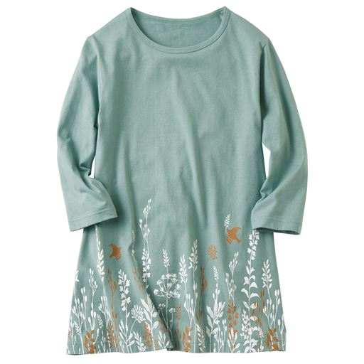 家事に便利な7分袖プリントTシャツ