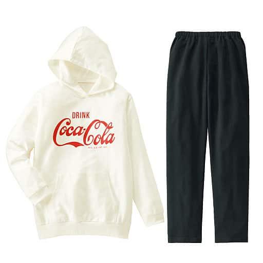 47%OFF【ティーンズ】 ゆるっと可愛いパーカータイプパジャマ(コカ・コーラ) - セシール ■カラー:オフホワイト ■サイズ:S,M