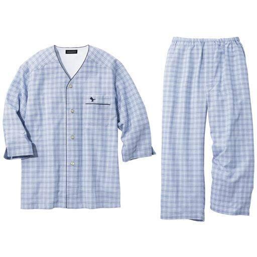【メンズ】 衿無パジャマ・GEORGEKENT(8分袖) - セシール ■カラー:ブルー系 ■サイズ:S,M,L,LL