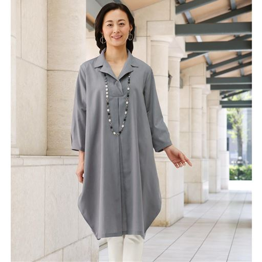 【レディース】 ゆったりシャツワンピース - セシール ■カラー:グレー系 ■サイズ:M,L,LL