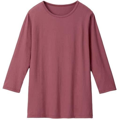 【レディース】 ベーシックな7分袖Tシャツ ■カラー:ダークローズ ■サイズ:LL,M,L