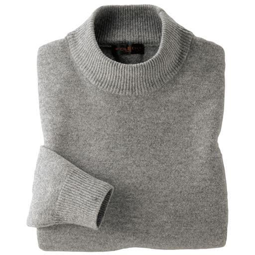 【レディース】 ウール100%洗えるハイネックセーター - セシール ■カラー:グレー ■サイズ:LL