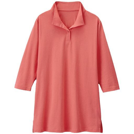 【レディース】 UVカットスキッパーロングTシャツ ■カラー:オレンジピンク ■サイズ:M,LL,3L