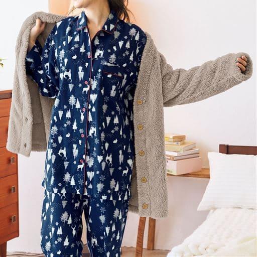 起毛ビエラのゆったりシャツパジャマ