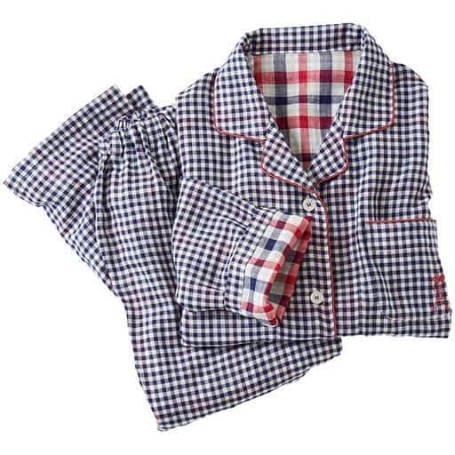 【レディース】 人気のチェック柄シャツパジャマ(綿100%)(二重ガーゼ) ■カラー:紺系:ギンガムチェック ■サイズ:M,L,LL,3L,5L