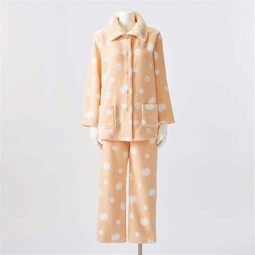 【レディース】 あったか可愛いハイネックパジャマ(ふわもこ) ■カラー:ソフトオレンジ(ネコ柄) ■サイズ:L,LL,3L,S,M