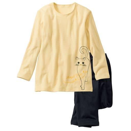 【レディース】 あったか裏起毛のTタイプパジャマ ■カラー:ソフトイエロー ■サイズ:S