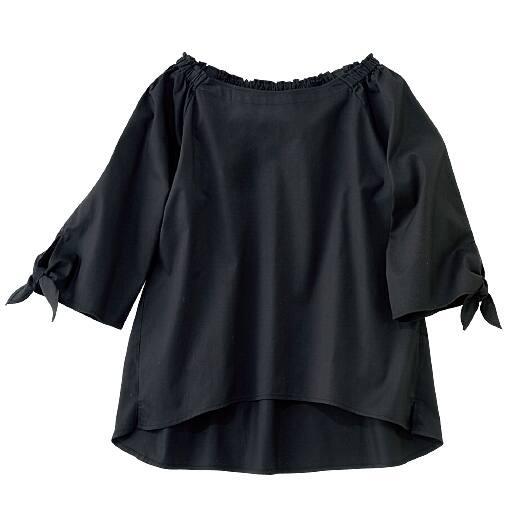 50%OFF【レディース】 袖リボン2WAYブラウス - セシール ■カラー:ブラック ■サイズ:L,3L,M,LL,S