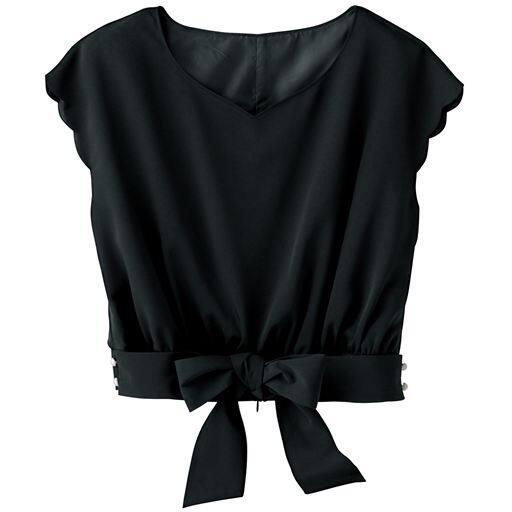 【レディース】 ハートネックブラウス - セシール ■カラー:ブラック ■サイズ:11号,7号,9号,13号