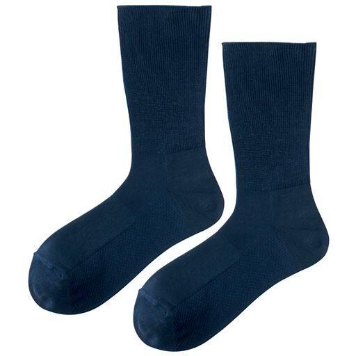 【メンズ】 履き口ゆったりソックス・2足組 ■カラー:ネイビーブルー ■サイズ:24-26,26-28
