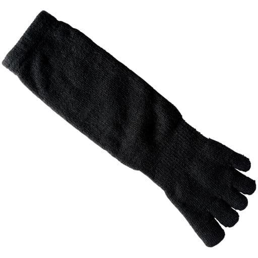 【メンズ】 指先から足首まで裏総パイルメンズあったか5本指ソックス・2足組 日本製 ■カラー:ブラック ■サイズ:26-28,24-26