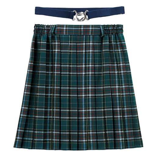 ウエストゴム 日本製チェック柄プリーツスカート(スカートベルト付き)(スクール・制服)