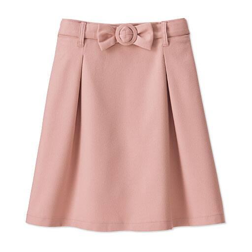 50%OFF【レディース】 リボンベルト付きスカート - セシール ■カラー:スモークピンク ■サイズ:L,M