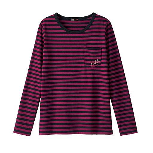 70%OFF【ティーンズ】 ボーダー長袖Tシャツ - セシール ■カラー:ボーダーA(エンジ×ブラック) ■サイズ:S,M