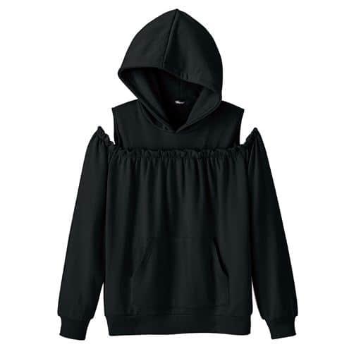 【ティーンズ】 肩あきパーカー - セシール ■カラー:ブラック ■サイズ:M,L,S,LL