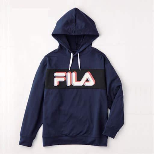 裏起毛ロゴプリント配色パーカー(FILA)