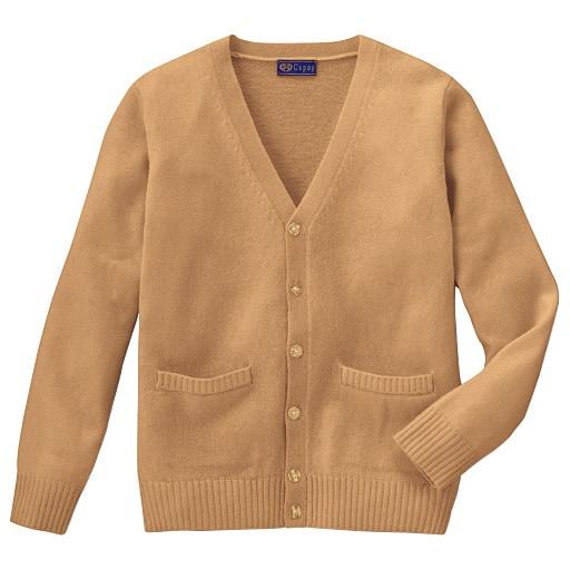 【ティーンズ】 あったか毛80% Vネックニットカーディガン(スクール・制服) ■カラー:キャメル ■サイズ:S