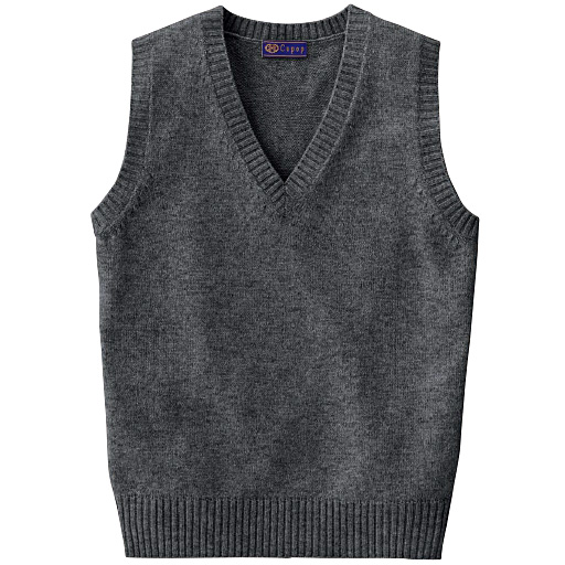 【ティーンズ】 あったか毛80% Vネックニットベスト(スクール・制服) ■カラー:チャコールグレー ■サイズ:LL,L,S,M,3L