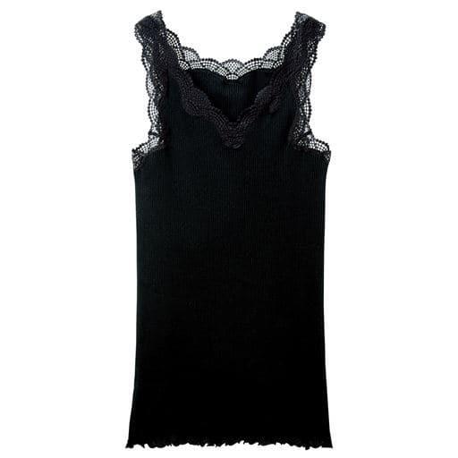 <セシール> 【レディース】 キャミソール(贅沢レースにやわらかな着心地の綿100%リブインナー) - セシール ■カラー:ブラック ■サイズ:LLL3LM5L6L