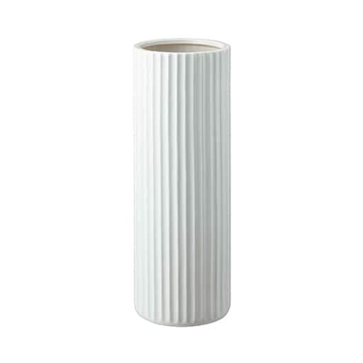 陶器傘立て スリム ストライプ ■カラー:ホワイトの写真
