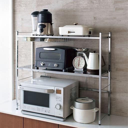幅伸縮キッチン家電ラック - セシール ■サイズ:C(2段/幅57-80cm),D(2段/幅87-110cm)