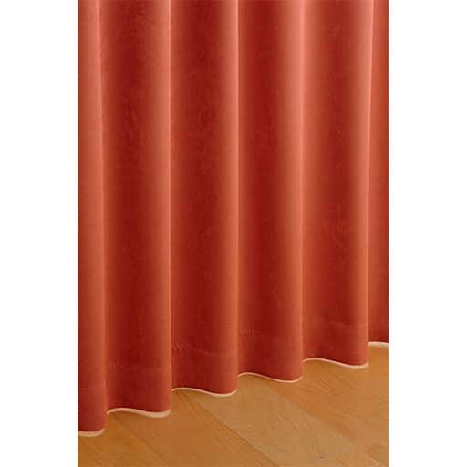 〔形状記憶付き〕スエード風タッチの無地遮光カーテン ■カラー:オレンジ ■サイズ:幅100×丈90(2枚組),幅100×丈110(2枚組),幅100×丈120(2枚組),幅100×丈135(2枚組),幅100×丈150(2枚組),幅100×丈170(2枚組),幅100×丈178(2枚組),幅100×丈185(2枚組),幅100×丈190(2枚組),幅100×丈195(2枚組),幅100×丈200(と題した写真