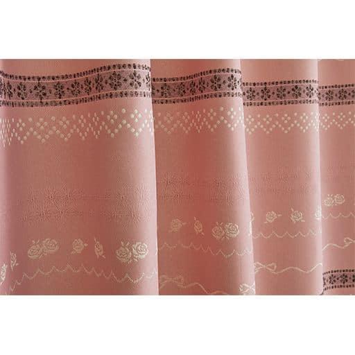 〔形状記憶付き〕リボン&ローズ柄ジャカード織りカーテンと題した写真
