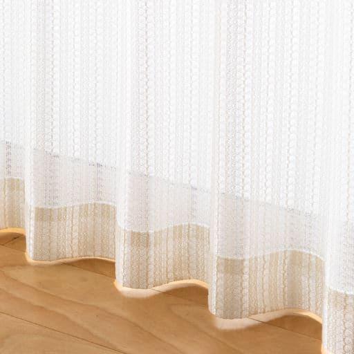 〔形状記憶付き〕お部屋をワンランク上げるざっくり編みミラーレースカーテン ■カラー:ブラウン オフホワイト ダークブラウン ■サイズ:幅100×丈88(2枚組),幅100×丈108(2枚組),幅100×丈118(2枚組),幅100×丈133(2枚組),幅100×丈148(2枚組),幅100×丈168(2枚組),幅100×丈176(2枚組),幅100×丈183(2枚組),幅100×丈188(2枚組)の商品画像