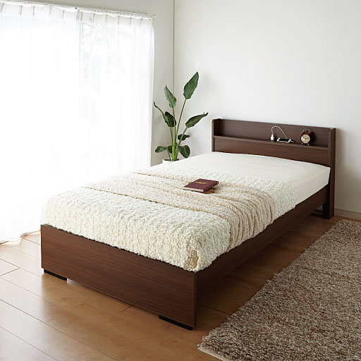 <セシール> マット付きベッド(組み立て簡単) ■カラー:ブラウン ホワイト ■サイズ:ショートセミシングル、シングル、ダブル、セミダブル画像