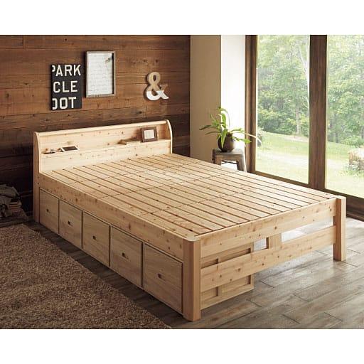 <セシール> すのこベッド(頑丈ひのき) ■カラー:ナチュラル ■サイズ:シングル画像