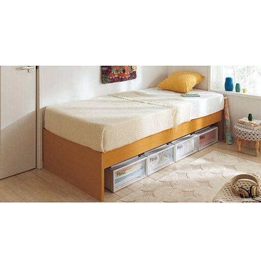 ベッド下収納も出来るヘッドレスコンパクトベッド ■カラー:ナチュラル ■サイズ:ショートセミシングルと題した写真