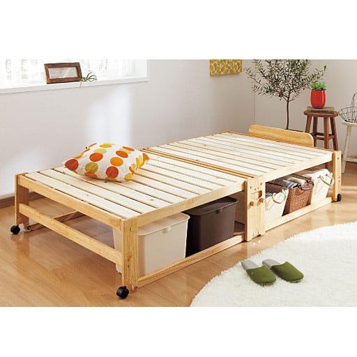 ひのき香る木製折りたたみベッドの写真