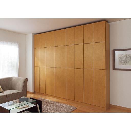 1cm単位で棚板の高さを変える頑丈壁面本棚の写真