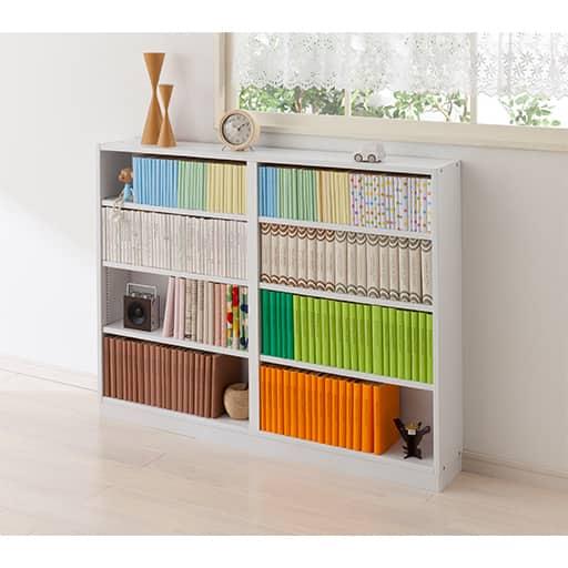 1cm単位で棚板の高さを変える積み重ねキャビネット ■カラー:ホワイト ダークブラウン ■サイズ:B(オープンタイプ/幅90),A(オープンタイプ/幅60)の写真