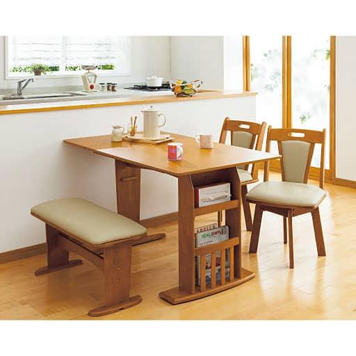 折りたたみダイニングテーブル・チェア・ベンチ ■カラー:ライトブラウン ■サイズ:B(チェア2脚)と題した写真
