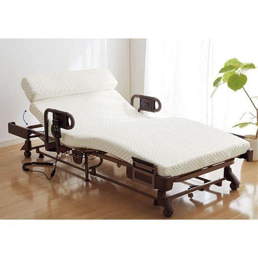 脚が固定できる折りたたみ電動リクライニングベッドの写真