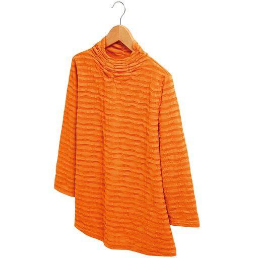 【レディース】綿混素材の涼やかシャーリングプルオーバー ■カラー:オレンジ ■サイズ:M-L、LL