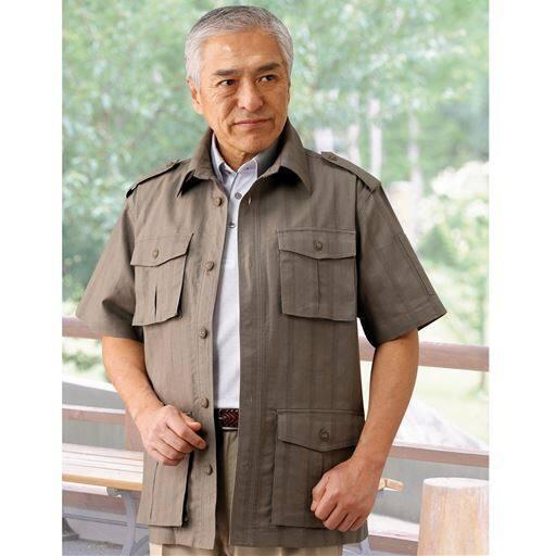 麻混半袖サファリジャケット(トロイブロス)