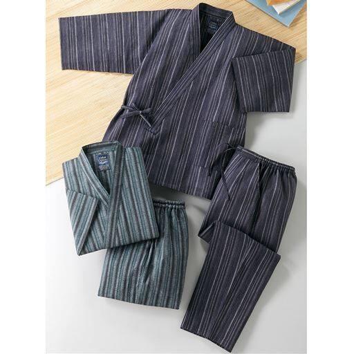 【メンズ】 綿100%しじら織り作務衣(色違い2枚組) - セシール ■サイズ:M,S