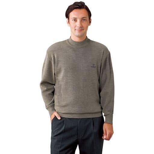 【メンズ】 ダンロップ・モータースポーツ 日本製ウール混ハイネックセーター - セシール ■カラー:ベージュ ■サイズ:M,L