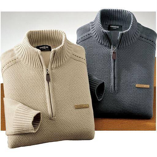 ステッチ使いハーフジップセーター(色違い2枚組)