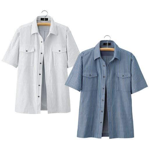 【メンズ】 10ポケットストライプシャツジャケット(色違い2枚組) - セシール ■サイズ:LL,L,M